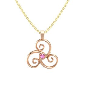 Round Pink Tourmaline 14K Rose Gold Necklace