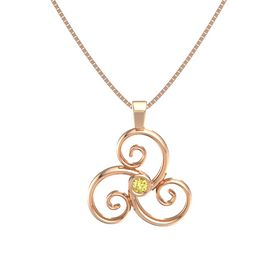 Round Yellow Sapphire 14K Rose Gold Necklace