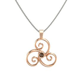 Round Smoky Quartz 14K Rose Gold Pendant