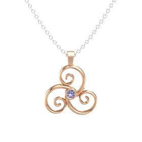 Round Tanzanite 14K Rose Gold Necklace