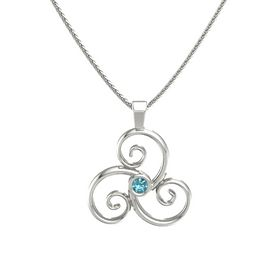 Round London Blue Topaz 14K White Gold Pendant