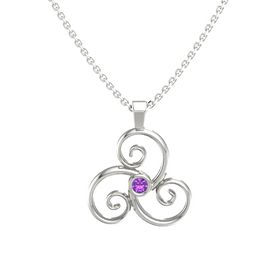 Round Amethyst 14K White Gold Necklace