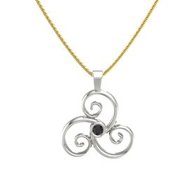 Round Black Diamond 14K White Gold Pendant