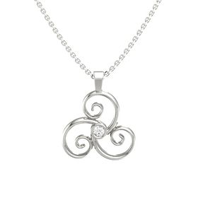 Round Rock Crystal 14K White Gold Pendant