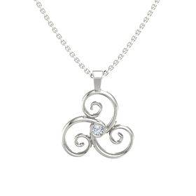 Round Diamond 14K White Gold Pendant