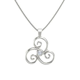 Round Diamond 14K White Gold Necklace