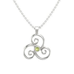 Round Peridot 14K White Gold Necklace