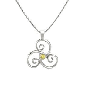 Round Yellow Sapphire 14K White Gold Necklace