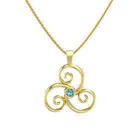 Round London Blue Topaz 14K Yellow Gold Necklace