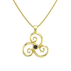 Round Black Diamond 14K Yellow Gold Pendant