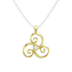 Round Rock Crystal 14K Yellow Gold Necklace