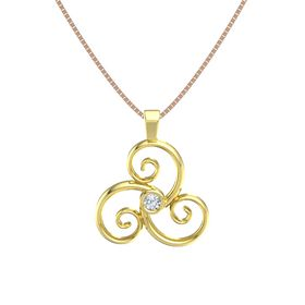 Round Diamond 14K Yellow Gold Pendant