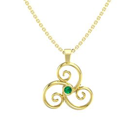 Round Emerald 14K Yellow Gold Pendant