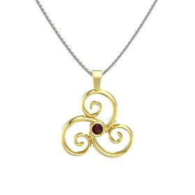 Round Red Garnet 14K Yellow Gold Pendant
