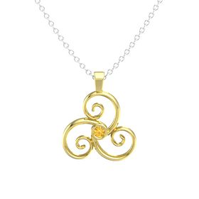 Round Citrine 14K Yellow Gold Necklace