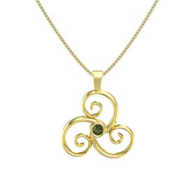 Round Green Tourmaline 14K Yellow Gold Necklace