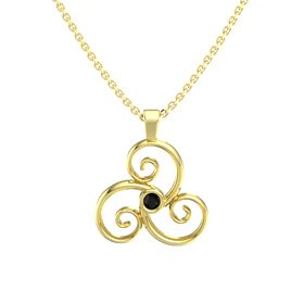 Round Black Onyx 14K Yellow Gold Pendant