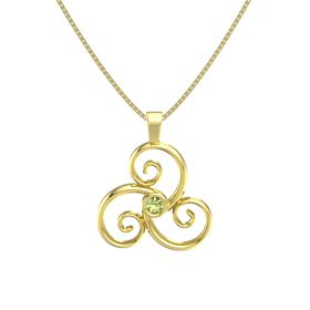 Round Peridot 14K Yellow Gold Necklace