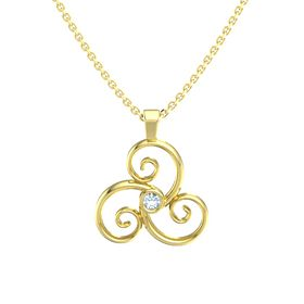 Round Aquamarine 14K Yellow Gold Necklace