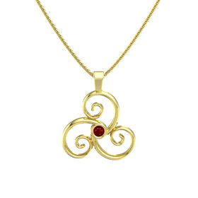 Round Ruby 14K Yellow Gold Pendant