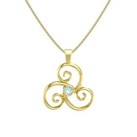Round Blue Topaz 14K Yellow Gold Pendant