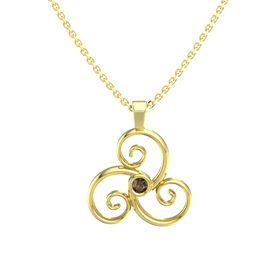 Round Smoky Quartz 14K Yellow Gold Necklace
