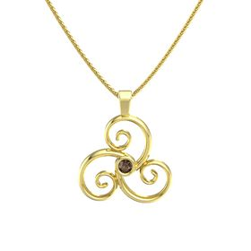 Round Smoky Quartz 14K Yellow Gold Pendant
