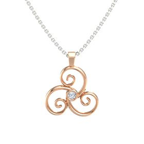 Round Diamond 18K Rose Gold Pendant