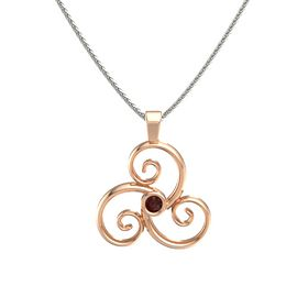 Round Red Garnet 18K Rose Gold Pendant