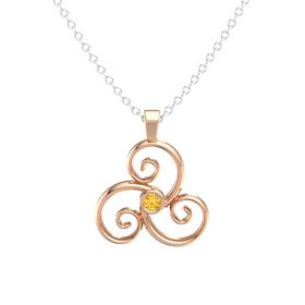 Round Citrine 18K Rose Gold Necklace