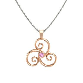 Round Pink Sapphire 18K Rose Gold Necklace
