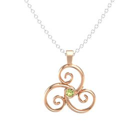 Round Peridot 18K Rose Gold Necklace
