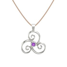 Round Amethyst 18K White Gold Necklace