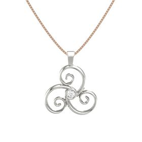 Round Rock Crystal 18K White Gold Pendant