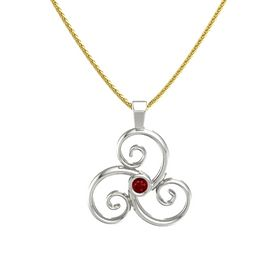 Round Ruby 18K White Gold Necklace