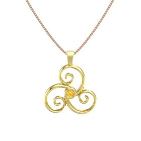Round Citrine 18K Yellow Gold Necklace