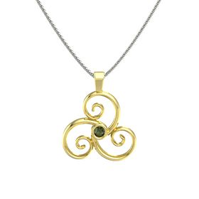 Round Green Tourmaline 18K Yellow Gold Necklace
