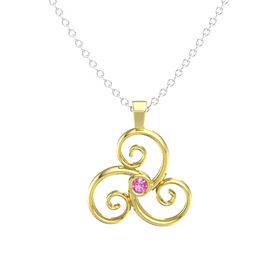 Round Pink Tourmaline 18K Yellow Gold Pendant