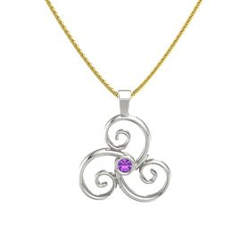 Round Amethyst Platinum Necklace
