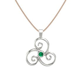Round Emerald Platinum Necklace