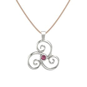 Round Rhodolite Garnet Platinum Necklace