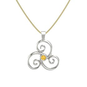 Round Citrine Platinum Necklace