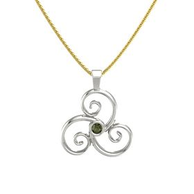 Round Green Tourmaline Platinum Necklace