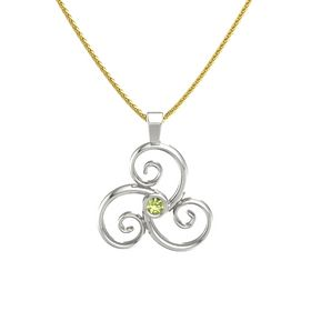 Round Peridot Platinum Necklace