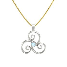 Round Blue Topaz Platinum Necklace