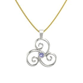 Round Tanzanite Platinum Necklace