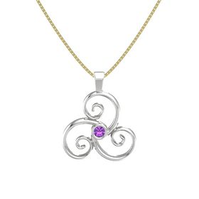 Round Amethyst Sterling Silver Pendant