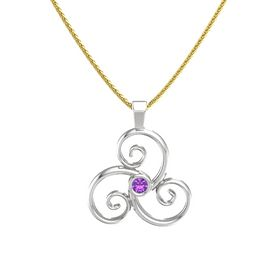 Round Amethyst Sterling Silver Necklace