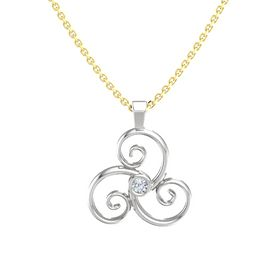 Round Diamond Sterling Silver Pendant