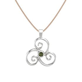 Round Green Tourmaline Sterling Silver Necklace